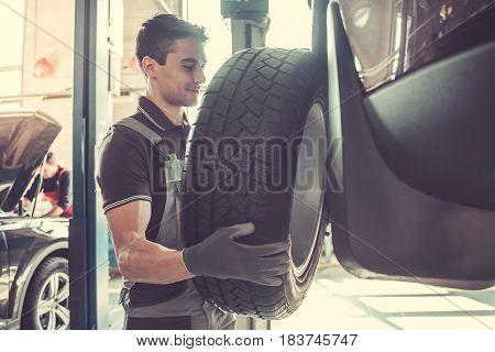 Handsome Auto Service Worker