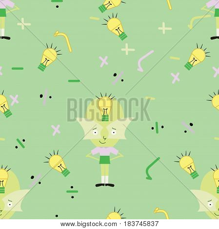 seamless genius cartoon kid pattern with mathematics symbols and light bulb