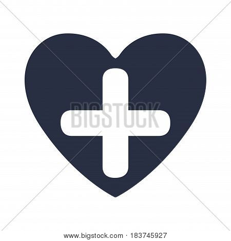 white background with dark blue heart and cross inside vector illustration