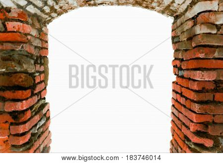 Red orange bricks abstract blur symbolic arch gate aged frame