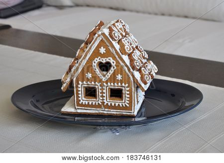 Homemade beautiful modest traditional winter biscuit gingerbread house