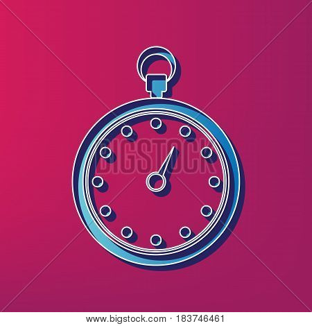Stopwatch sign illustration. Vector. Blue 3d printed icon on magenta background.