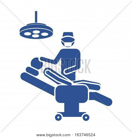 color silhouette pictogram person with surgeon vector illustration