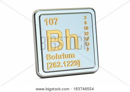 Bohrium Bh chemical element sign. 3D rendering isolated on white background