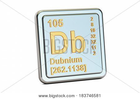 Dubnium Db chemical element sign. 3D rendering isolated on white background