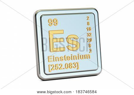 Einsteinium Es chemical element sign. 3D rendering isolated on white background