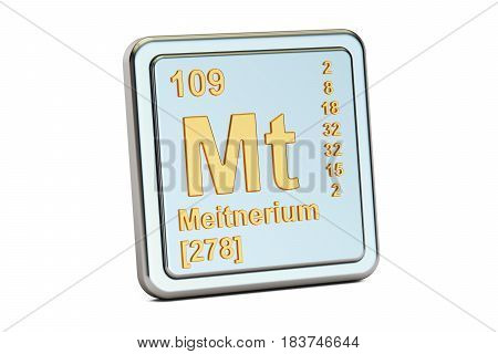 Meitnerium Mt chemical element sign. 3D rendering isolated on white background