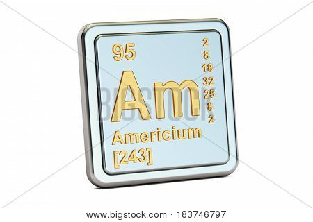 Americium Am chemical element sign. 3D rendering isolated on white background