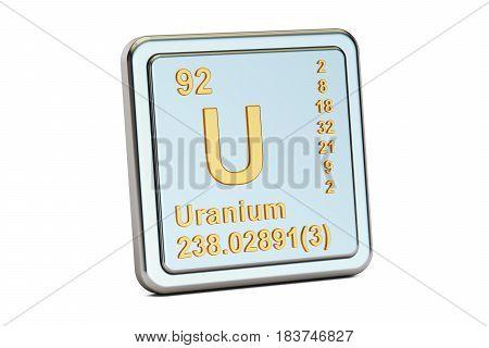 Uranium U chemical element sign. 3D rendering isolated on white background