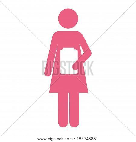 color silhouette pictogram female with remedy bottle vector illustration