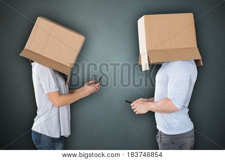 Couple Covering Their Heads With Cardboard box Using Cellphone