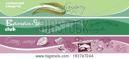Hand drawn marine food horizontal banners with sea and ocean fishes animals shells products meals vector illustration