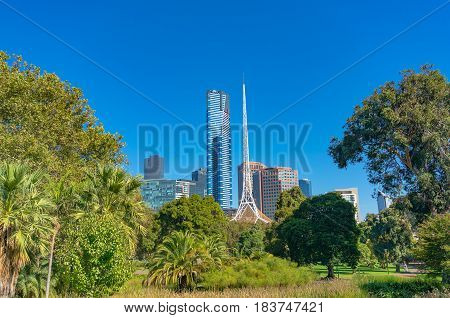Melbourne Southbank Cityscape With National Gallery Of Victoria Building