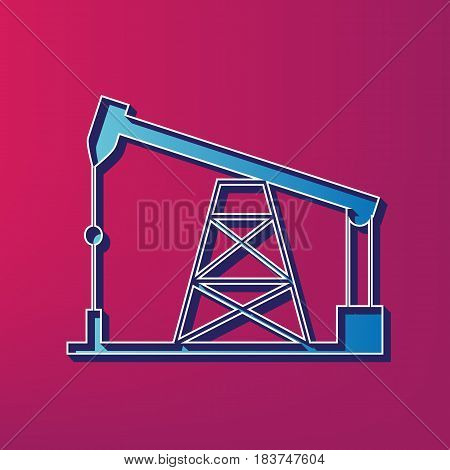 Oil drilling rig sign. Vector. Blue 3d printed icon on magenta background.