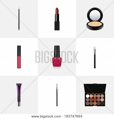 Realistic Varnish, Mouth Pen, Day Creme And Other Vector Elements. Set Of Cosmetics Realistic Symbols Also Includes Lip, Creme, Lips Objects.