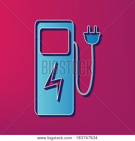 Electric car charging station sign. Vector. Blue 3d printed icon on magenta background.