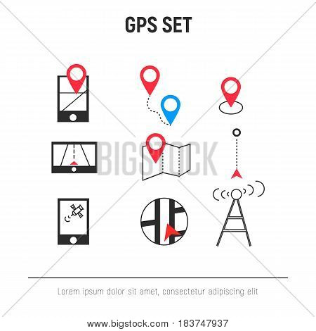 GPS vector icon set in line art style
