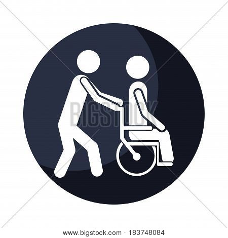 color circular frame shading with person helping another push a wheelchair vector illustration