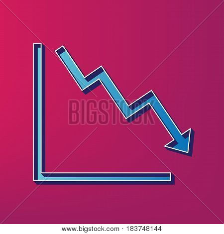 Arrow pointing downwards showing crisis. Vector. Blue 3d printed icon on magenta background.