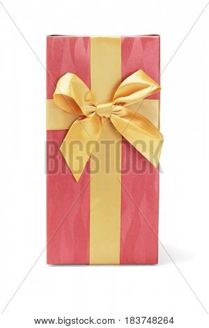 Gift Box with Yellow Bow Ribbon on White Background