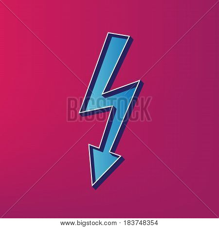 High voltage danger sign. Vector. Blue 3d printed icon on magenta background.