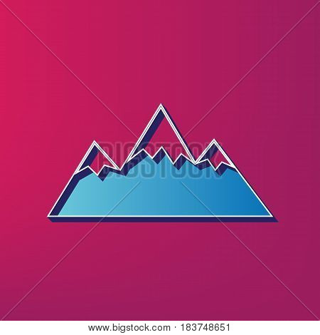 Mountain sign illustration. Vector. Blue 3d printed icon on magenta background.