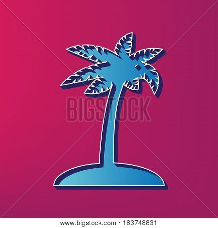 Coconut palm tree sign. Vector. Blue 3d printed icon on magenta background.