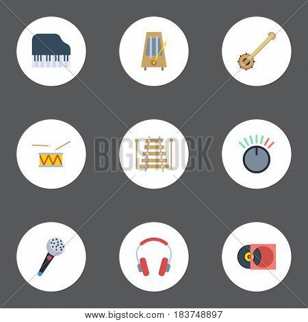 Flat Knob, Earphone, Karaoke And Other Vector Elements. Set Of Music Flat Symbols Also Includes Microphone, Knob, Earphone Objects.