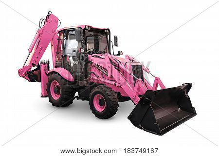 Pink earth mover isolated on a white background