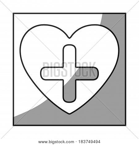 grayscale square frame shading with heart and cross vector illustration