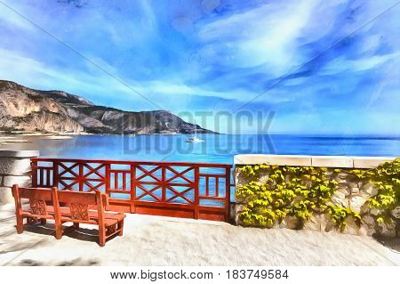 Colorful painting of bench at the seaside, French Riviera, France