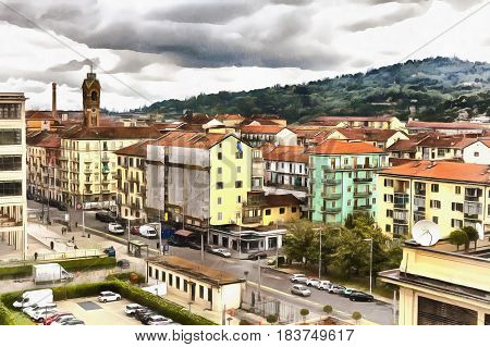 Colorful painting of cityscape from Fiat Lingotto, Turin, Piedmont, Italy