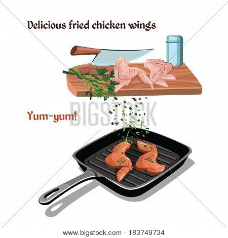 Hand drawn chicken preparation concept with fried wings on pan knife food seasonings and spices vector illustration
