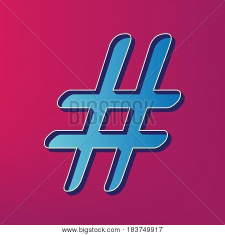Hashtag sign illustration. Vector. Blue 3d printed icon on magenta background.