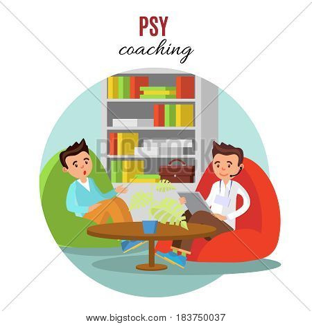 Colorful psychological training concept with coach talking with his client in office vector illustration