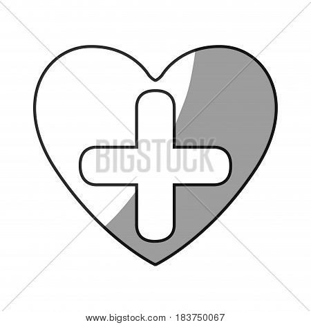 grayscale silhouette of heart with cross inside vector illustration