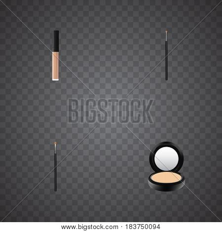 Realistic Brow Makeup Tool, Blusher, Contour Style Kit And Other Vector Elements. Set Of Maquillage Realistic Symbols Also Includes Powder, Lipstick, Contour Objects.