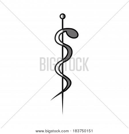 grayscale silhouette with health symbol with serpent entwined vector illustration