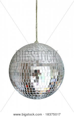 disco ball hanging on chainlet isolated on white poster