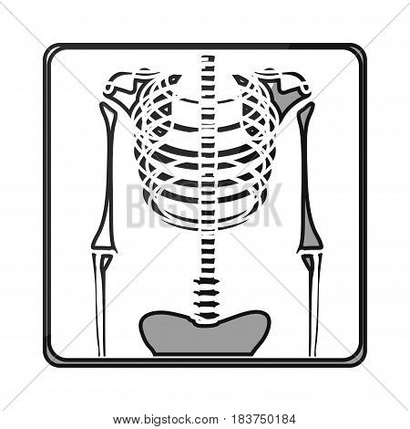 grayscale silhouette with symbol of chest radiography vector illustration