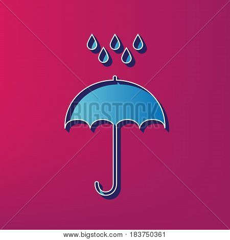 Umbrella with water drops. Rain protection symbol. Flat design style. Vector. Blue 3d printed icon on magenta background.