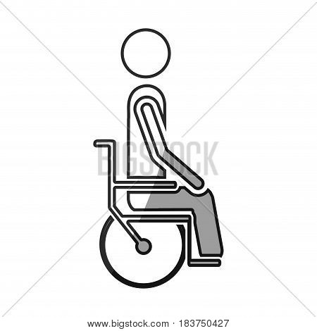 grayscale silhouette with person sitting in wheelchair vector illustration