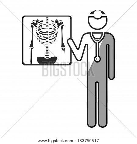 grayscale silhouette with pictogram doctor and radiography vector illustration