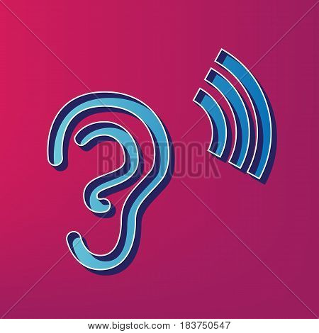 Human anatomy. Ear sign with soundwave. Vector. Blue 3d printed icon on magenta background.