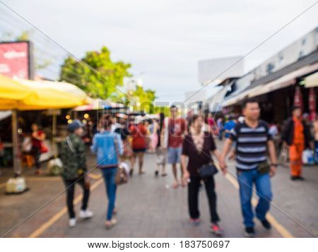Blurred People Shopping Outdoor At Chatuchak Weekend Market