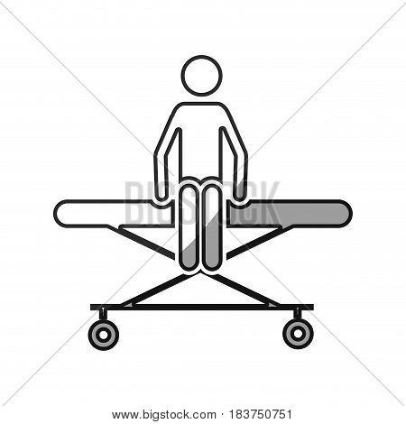 grayscale silhouette with pictogram patient sit in stretcher clinical vector illustration