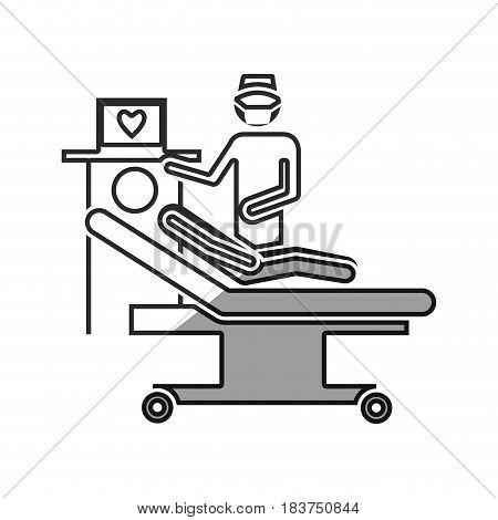 grayscale silhouette with pictogram person with cardiologist vector illustration