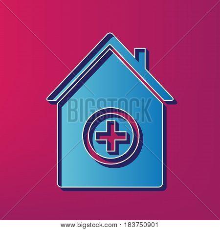 Hospital sign illustration. Vector. Blue 3d printed icon on magenta background.