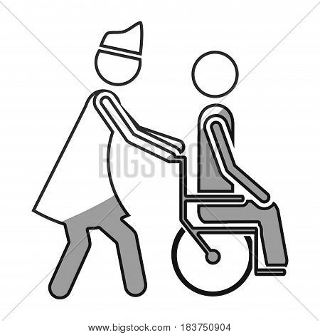grayscale silhouette with nurse helping another person push a wheelchair vector illustration