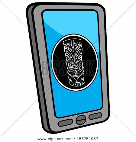 A vector illustration of a Smart Phone Tiki App.